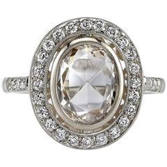 Rose Cut Diamond White Gold Engagement Ring