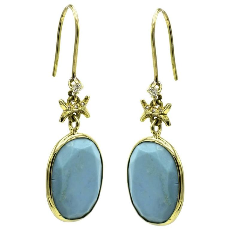 Turquoise and Gold Earrings with Embellished Diamond Accents For Sale