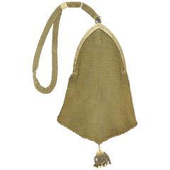 Gold Mesh Evening Bag Wristlet Purse