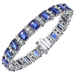 Gem Sapphire Diamond Gold Tennis Bracelet
