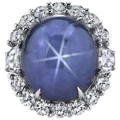 Star Sapphire Diamond Halo Platinum Ring