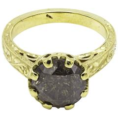 Round Brilliant Chocolate Diamond Hand Engraved Approximate 3 Carat Yellow Gold