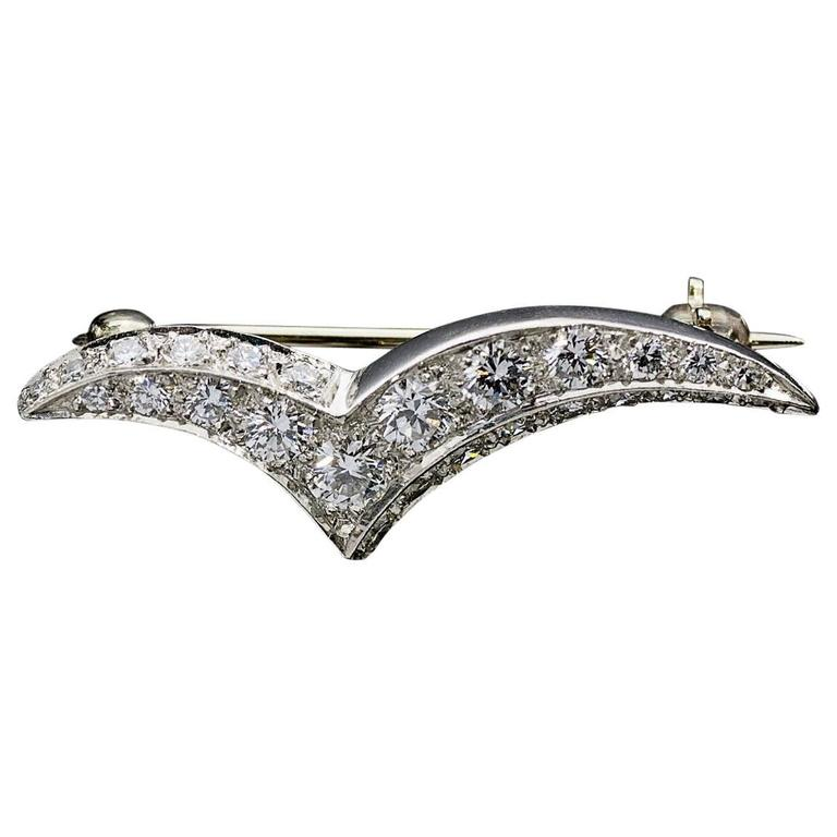 Tiffany & Co. Small Diamond Seagull Brooch Pin