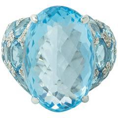Huge Blue Topaz  Diamond  Ring