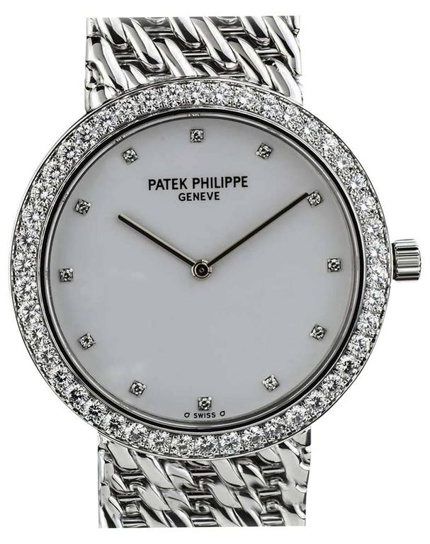 Patek Philippe White Gold Diamond Set Calatrava Mid Size Manual Wind Wristwatch