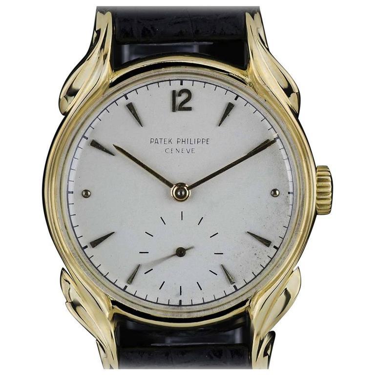 Patek Philippe Yellow Gold Flame Lugs Rare Calatrava Wristwatch 1953