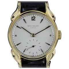 Patek Philippe Yellow Gold Flame Lugs Rare Calatrava Wristwatch, 1953