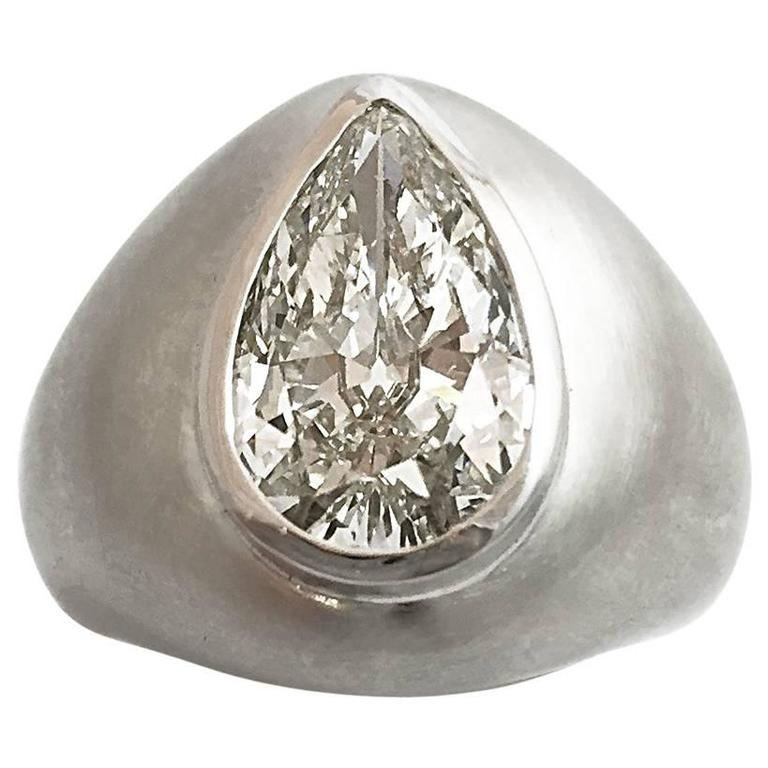3 78 carat pear shaped diamond satin finish white gold ring at 1stdibs