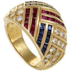 Van Cleef & Arpels Diamond Sapphire and Ruby Yellow Gold Ring