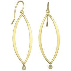 Faye Kim Gold Open Marquise Earrings with Raw Diamond Drop
