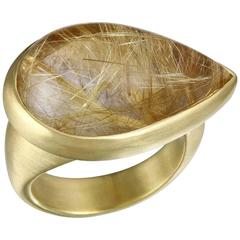 Faye Kim Rutilated Quartz Cabochon Gold Ring