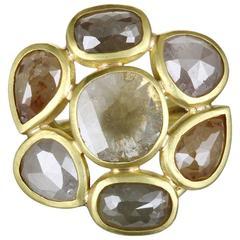 Faye Kim Milky Diamond Gold Daisy Ring