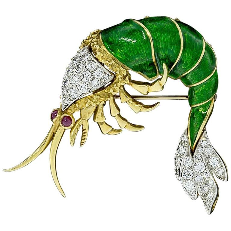 Very Unique Ruby Enamel Diamond Yellow and White Gold Shrimp Prawn Brooch Pin 1