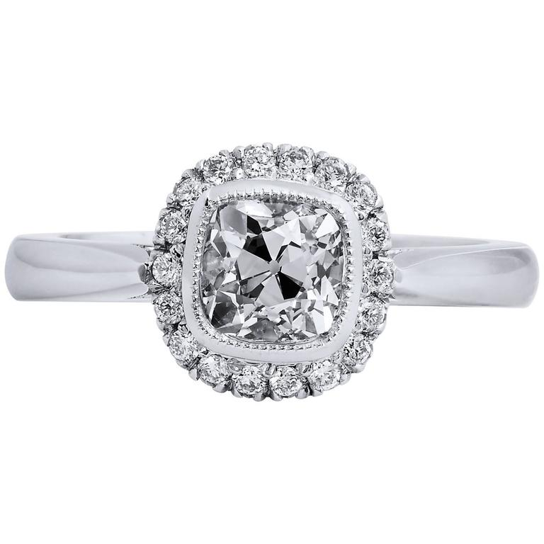 104 carat antique cushion cut diamond engagement ring