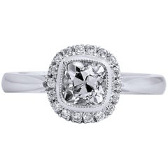 1.04 Carat Antique Cushion Cut Diamond Engagement Ring with Halo