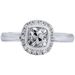 1.04 Carat Antique Cushion Cut Diamond Engagement Ring with Halo