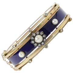 Antique French Napoleon III Enamel Diamond Pearl Gold Bangle Bracelet