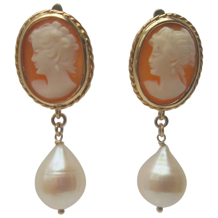 Marina J. Cameo Pearl Gold Earrings