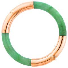 Green Jadeite Rose Gold Bangle Bracelet