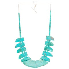 1940s Turquoise Squash Blossom Navajo Necklace