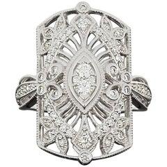 Diamond Open Filigree Leaf Scroll Ring