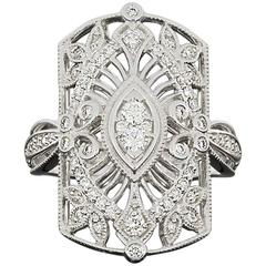 Diamond Open Filigree Leaf Scroll Ring