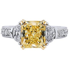 GIA Certified 3.17 Carat Fancy Yellow and Half Moon-Shaped Diamond Ring