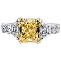 3.17 Fancy Yellow and Half Moon-Shaped Diamond Engagement Ring