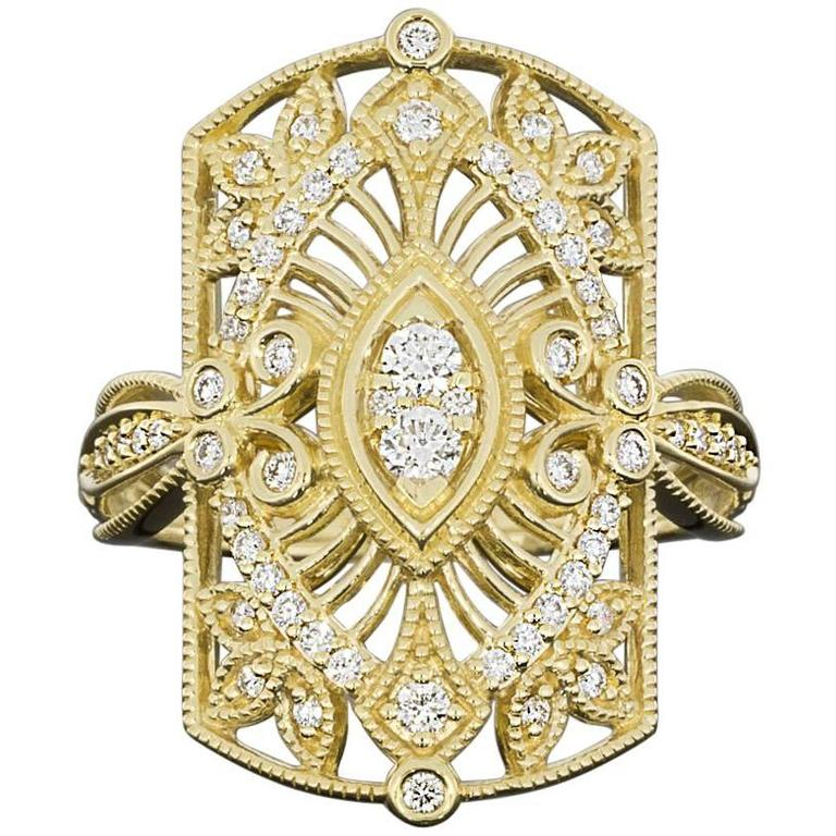 Diamond Open Filigree Leaf Scroll Gold Ring