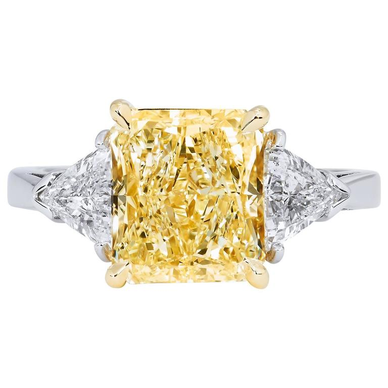 3 60 Fancy Yellow Diamond Engagement Ring For Sale at 1stdibs