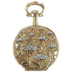 Art Nouveau French Omega Ladies Gold Diamond Mechanical movement Pocket Watch