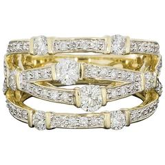 Diamond 4 Row Crossover Band Ring