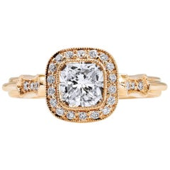 GIA Certified 1.03 Carat Radiant Cut Diamond Two-Tone Gold Engagement Ring