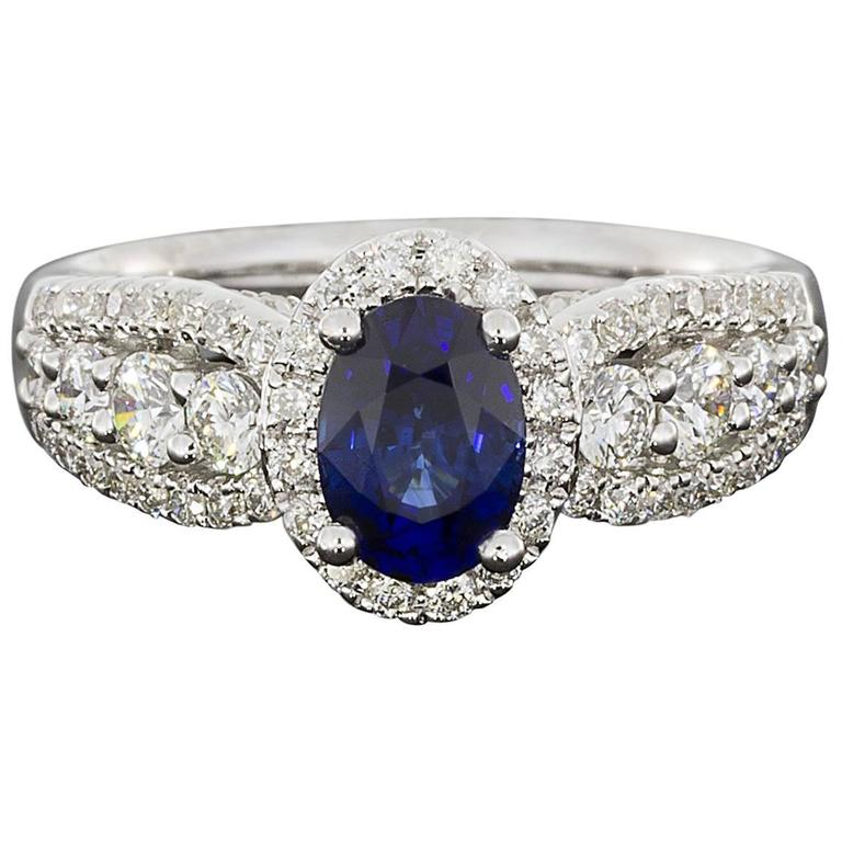 Oval Sapphire  Diamond 3 Row Halo Engagement Ring For Sale
