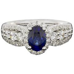 Oval Sapphire  Diamond 3 Row Halo Engagement Ring