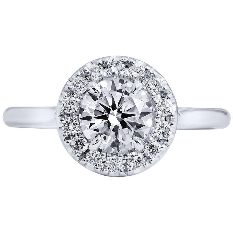 0.90 Carat Round Brilliant Cut Diamond Engagement Ring