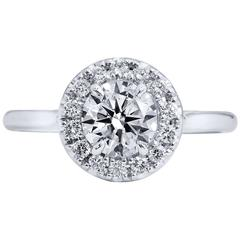 0.90 Carat Round Brilliant Cut Diamond Engagement Ring