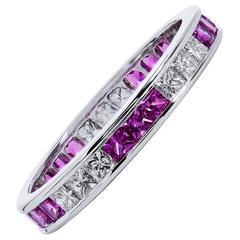 Princess Cut Pink Sapphire and Diamond Band Ring