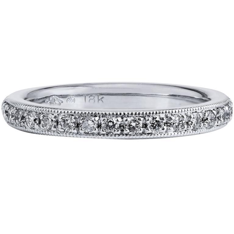 0.24 Carat Diamond 18 Karat White Gold Band Ring