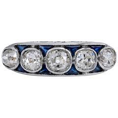 2.40 Carat Old Mine Cut Diamond Platinum Band Ring
