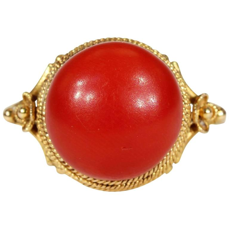 Antique Victorian Etruscan Revival Red Coral Gold Ring  1