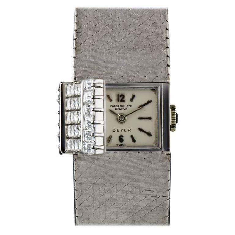 Patek Philippe Ladies White Gold Diamond Set Double Name Beyer Wristwatch 1964