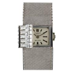 Patek Philippe Ladies White Gold Diamond Set Double Name Beyer Wristwatch, 1964