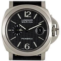 Panerai White Gold Carbon Fibre Dial Luminor Marina automatic Wristwatch 2008