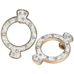 Stylish Earring Rose Gold & Silver White Diamon Hand Decorated with Micromosaic