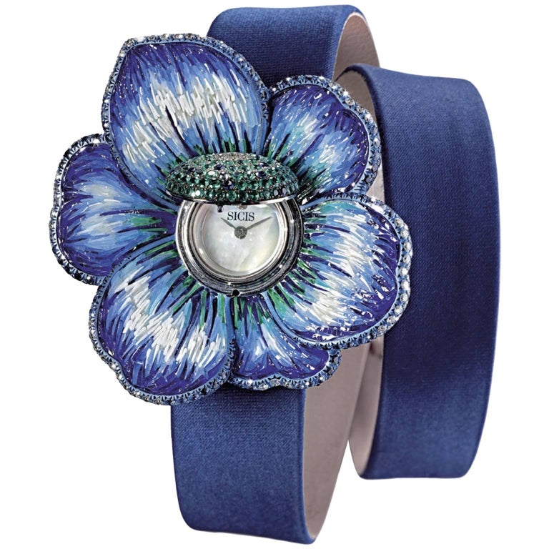 Stylish Wristwatch White Diamond Blue Sapphire Emerald White Gold Quartz Mov  For Sale