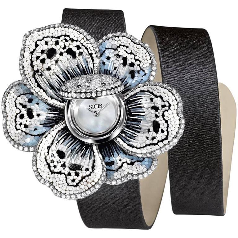 Sicis Ladies Gold Diamonds White Jewels Gardenia Micromosaic Quartz Wristwatch