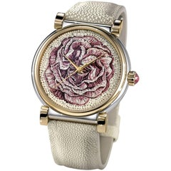 Stylish Watch Stainless Steel Rose Gold Sapphires Hand Decorated Micromosaic