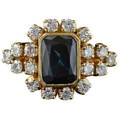 4.00 Carat Sapphire  Diamond Gold Ring