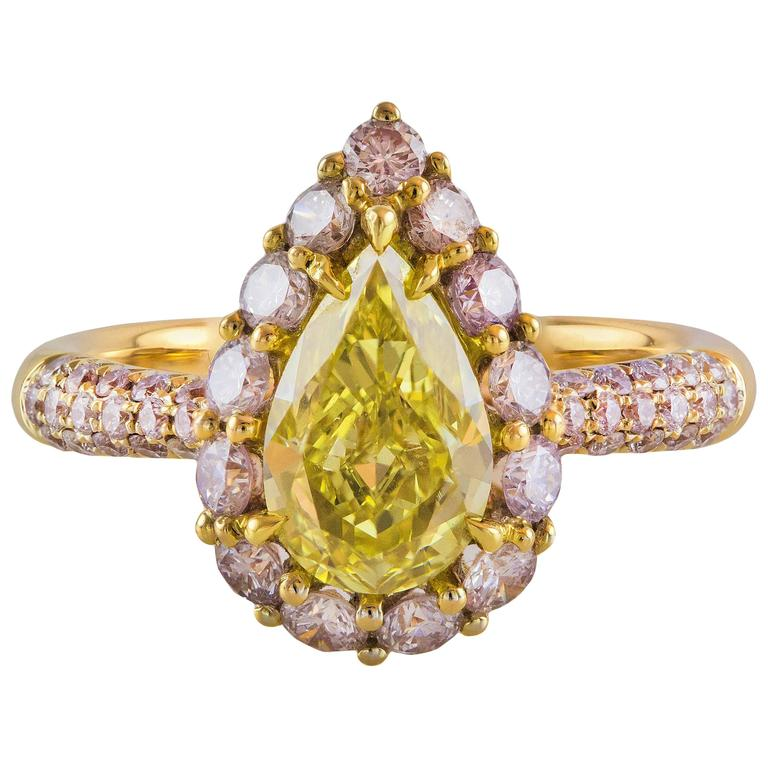 GIA Certified 1.19 Carat Yellow Pear Shape Diamond Gold Ring